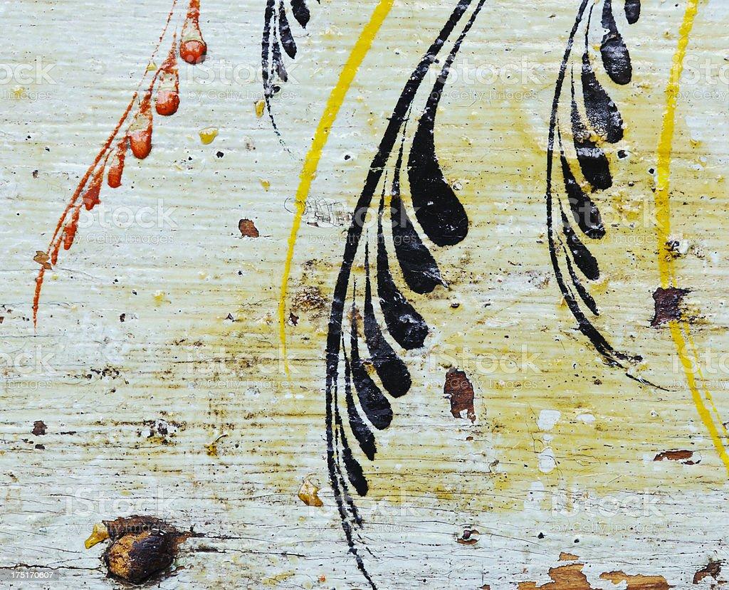Antique ornate painted  brushstroke   flower motive. royalty-free stock photo