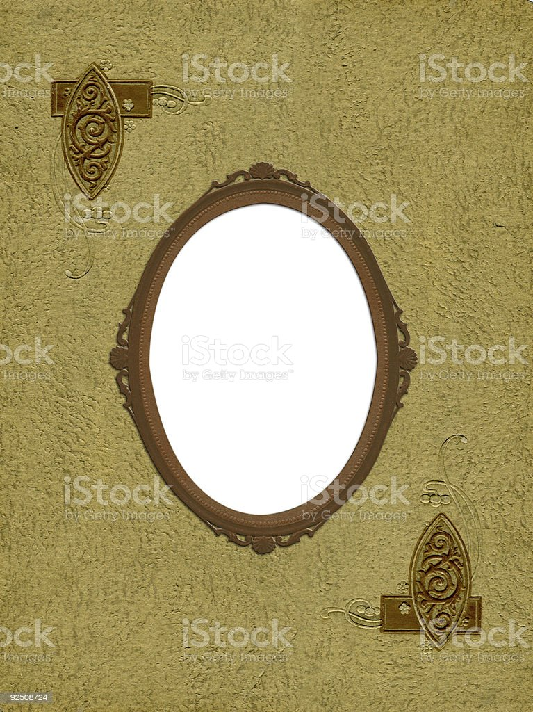 Antique oval frame on photo album cover royalty-free stock photo