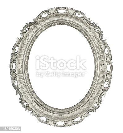 Fine detailed old silver coloured frame. Oval in shape. Pure White background for easy editing.