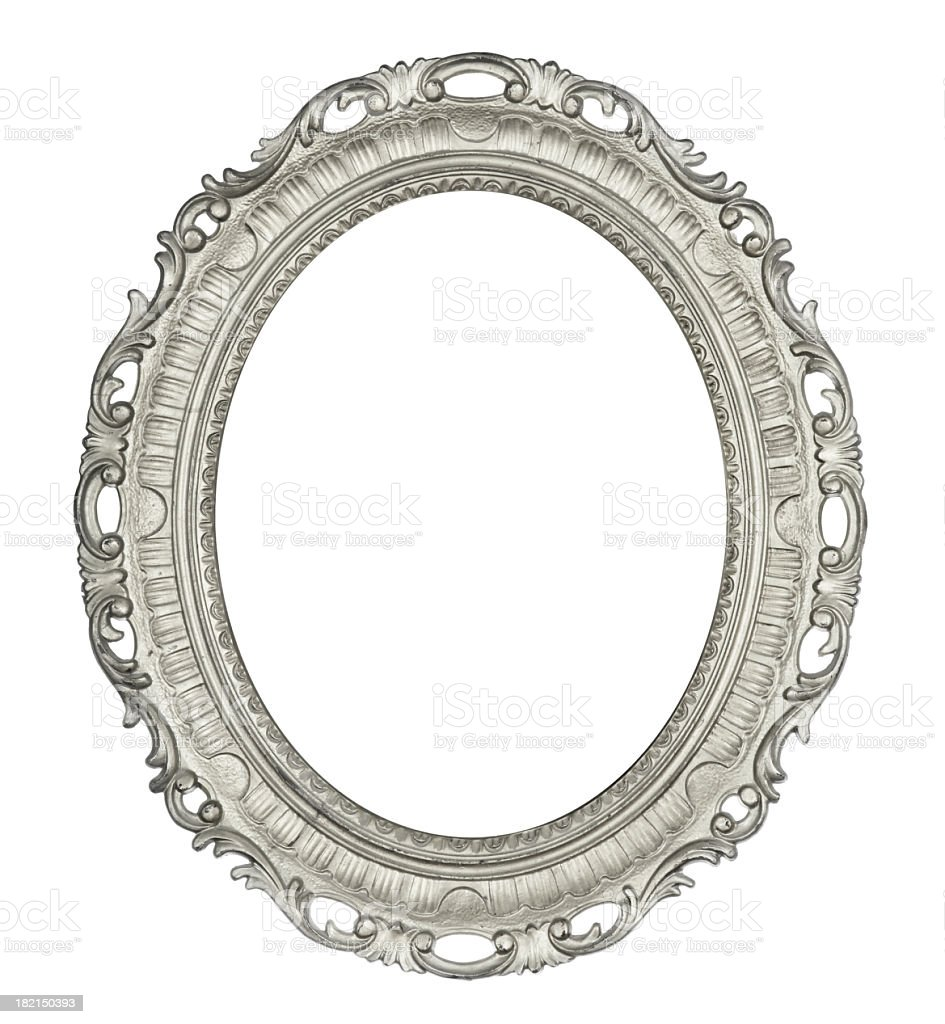 Antique Oval Silver Frame stock photo