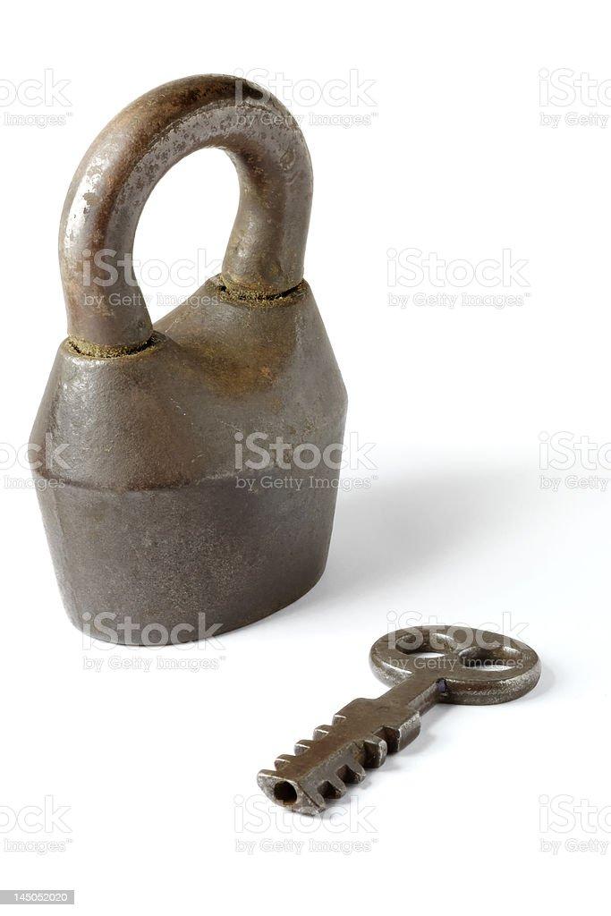 Antique padlock and key royalty-free stock photo