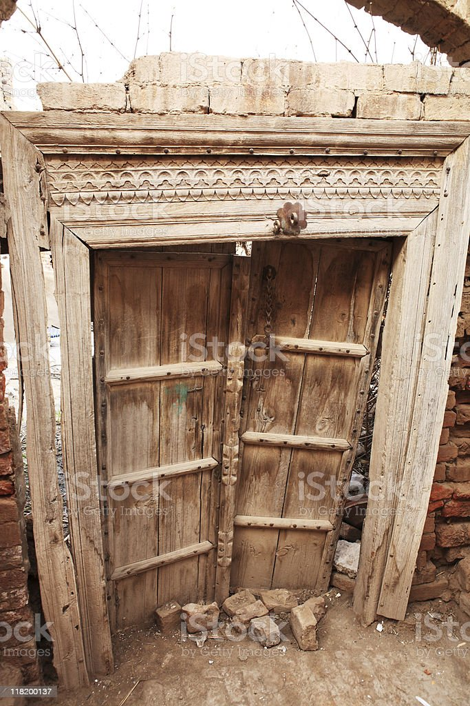 Antique Panel door and Carved Frame royalty-free stock photo