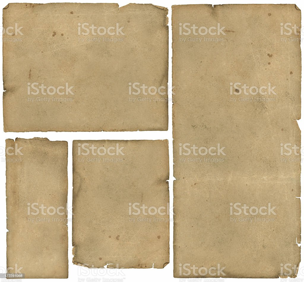 Antique Paper, Map Paper, 4 Pieces stock photo