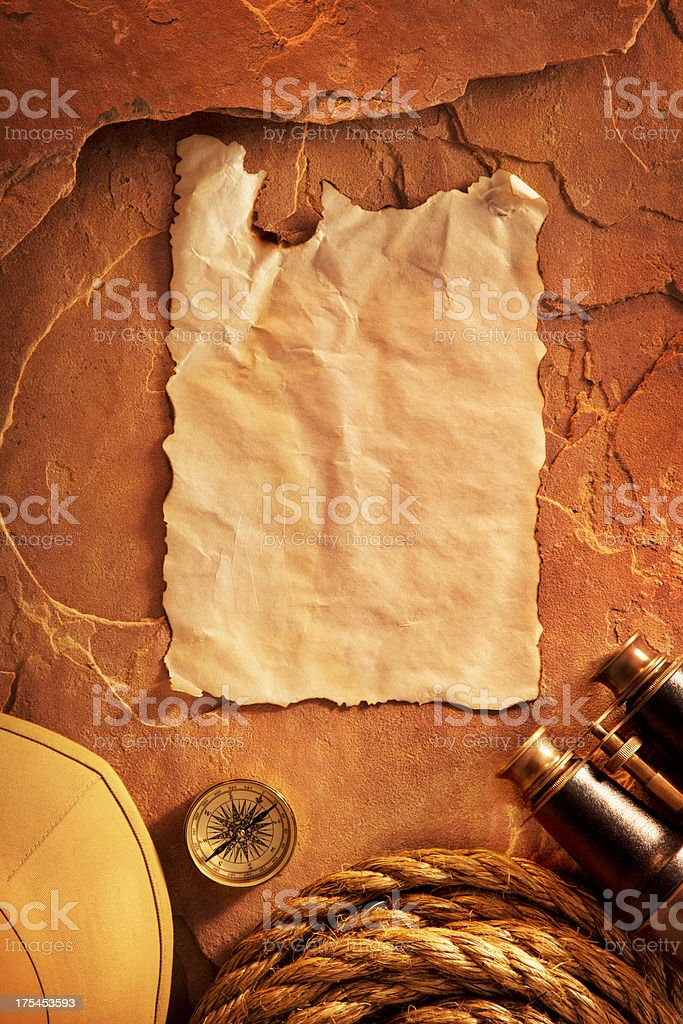 Antique Paper on a Red Rock Background stock photo