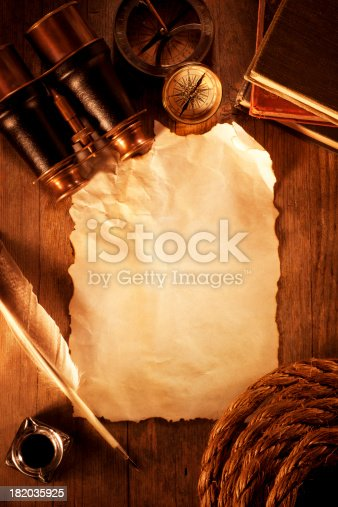 istock Antique Paper on a Wooden Desk 182035925