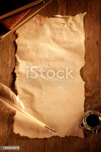 This is an overhead photo of a old blank sheet of paper surrounded by a bottle of ink and a quill pen. There is a lot of space for copy.Click on the links below to view lightboxes.