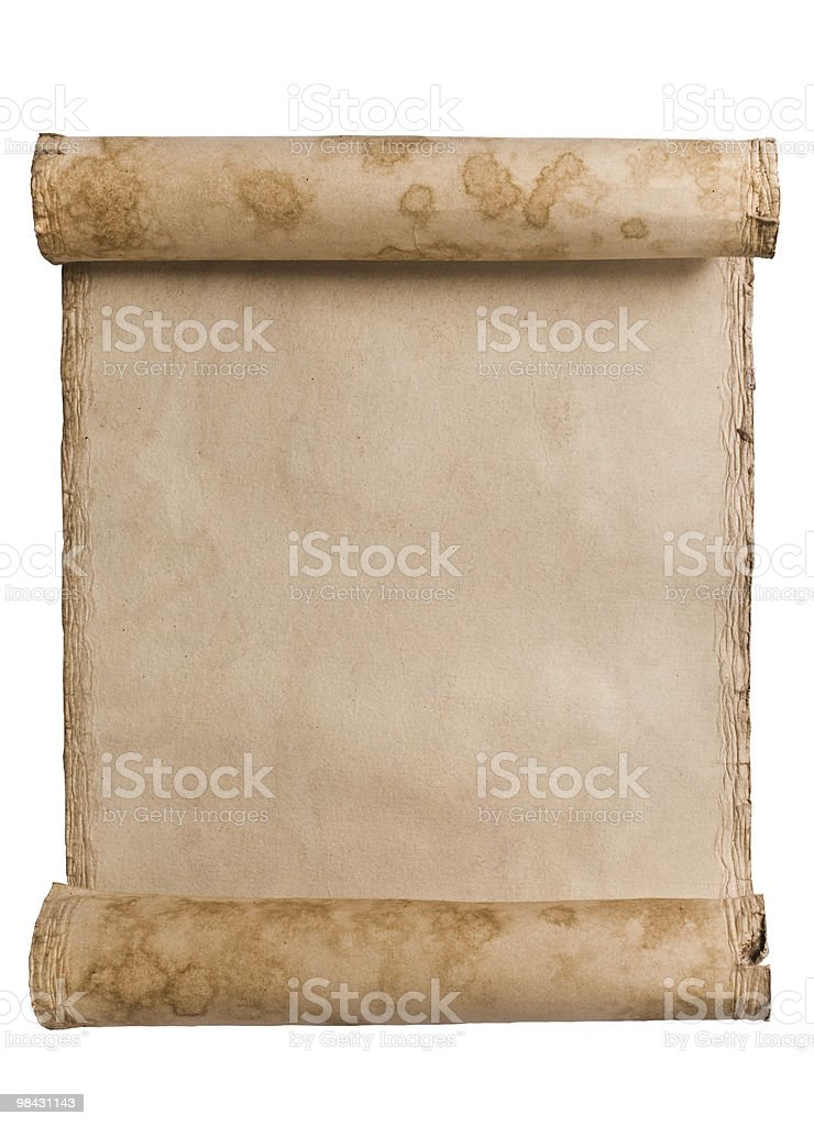 Antique paper scroll on white surface royalty-free stock photo