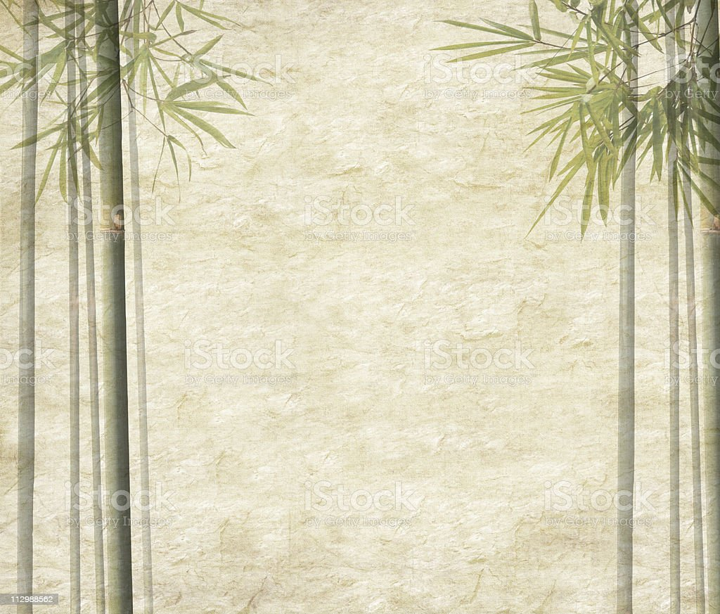 Antique paper texture with bamboo edges royalty-free stock photo