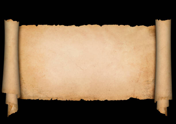 antique parchment on black background. - scroll stock photos and pictures