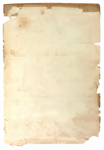 Antique parchment paper with tears, creases, rips and stains.  Makes a great background.