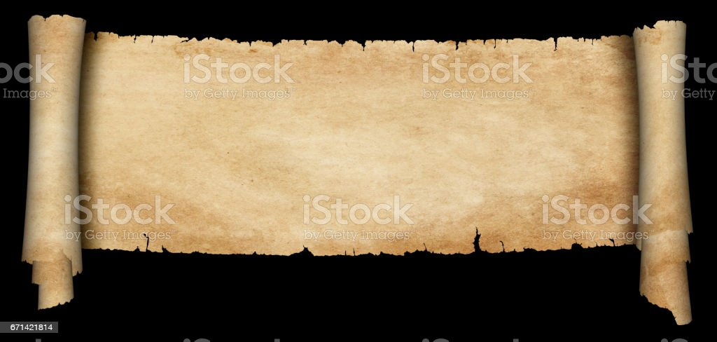 Antique parchment scroll on black background. stock photo