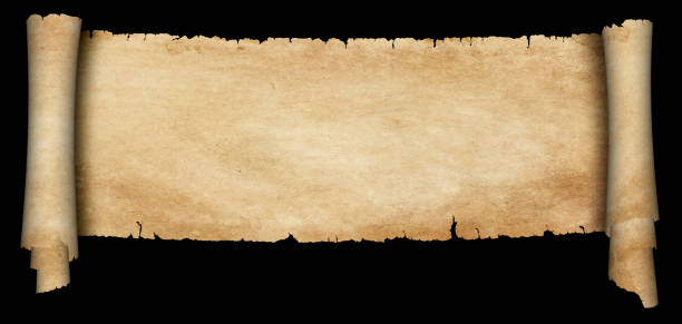 antique parchment scroll on black background. - scroll stock photos and pictures