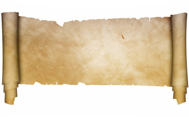 antique parchment scroll on white background. - scroll stock photos and pictures