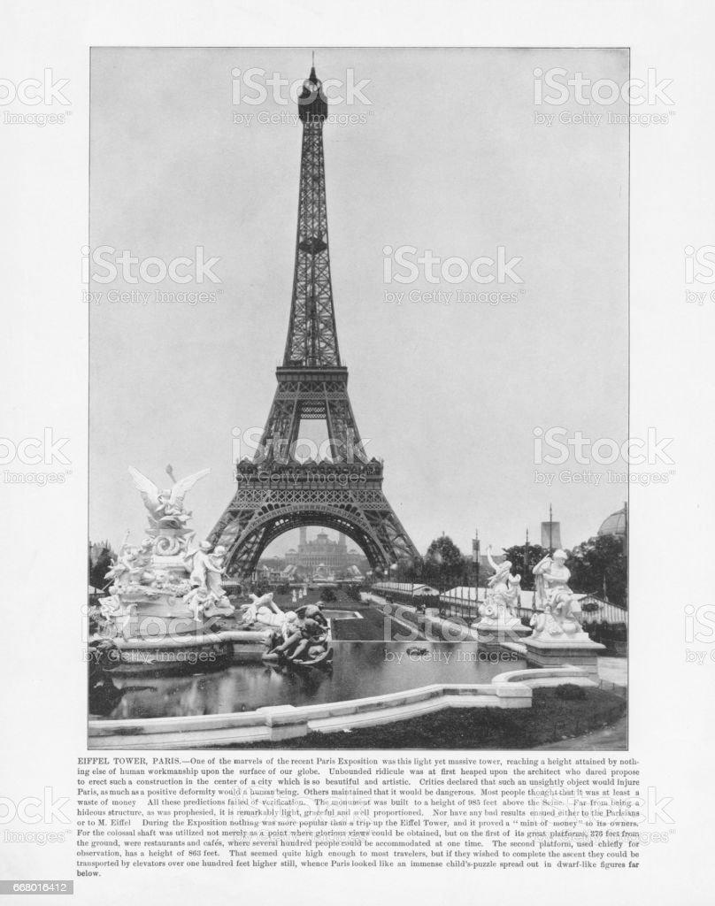 Antique Paris Photograph: Eiffel Tower, 1893 stock photo