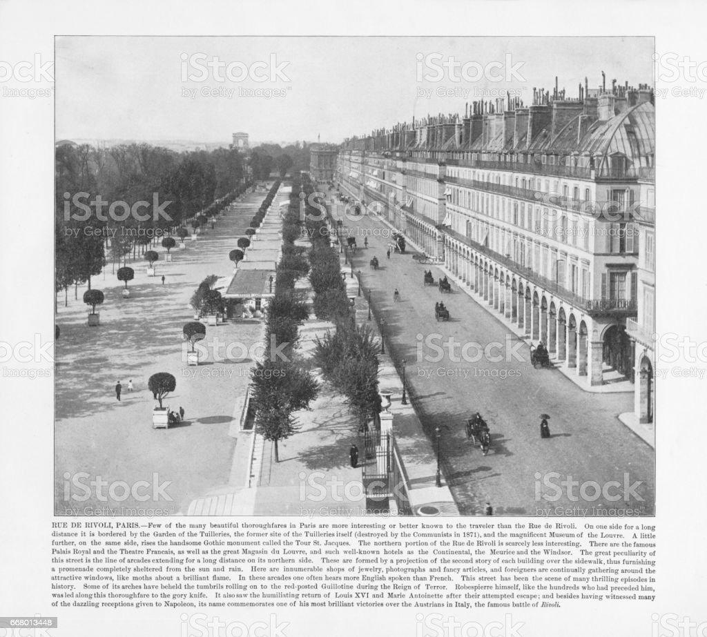 Antique Paris Photograph: Rue De Rivoli, 1893 stock photo