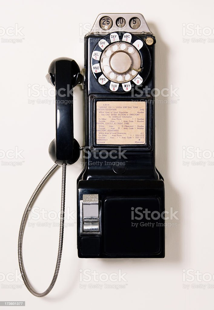 Antique pay telephone on wall stock photo