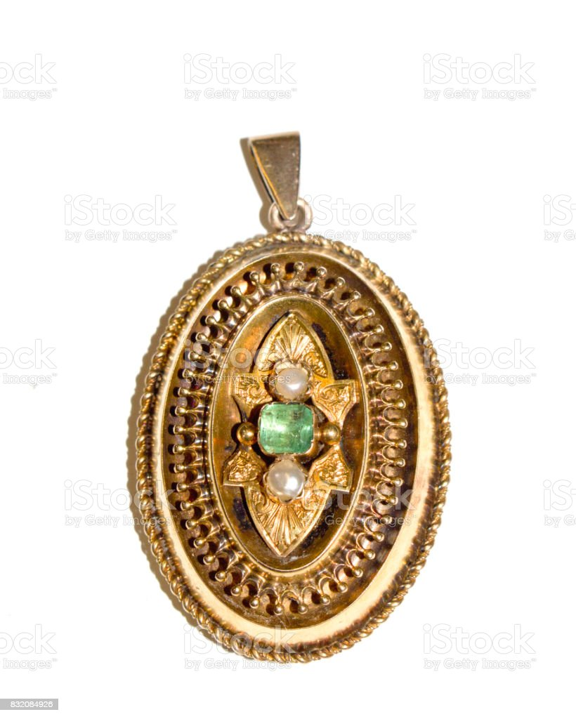 Antique Pendant Brooch on White Background stock photo