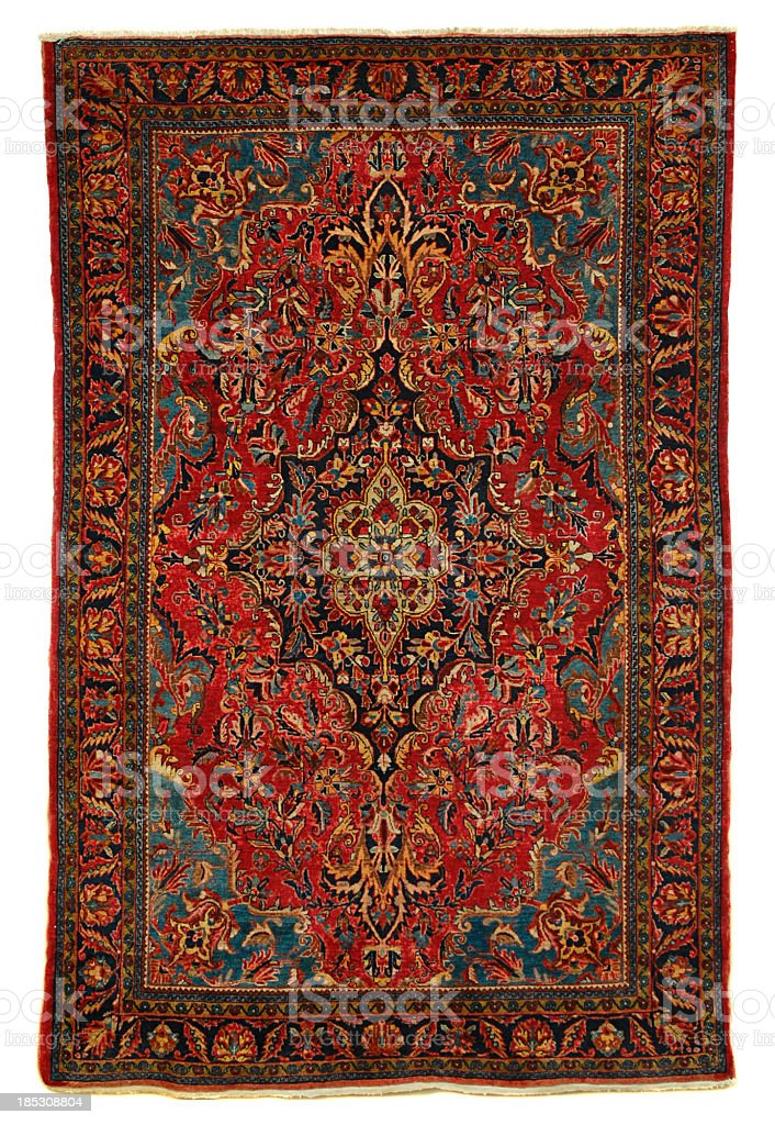 Antique Persian Sarouk Area Rug stock photo
