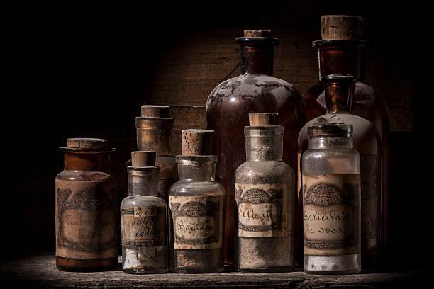 Antique pharmacy jars stock photo