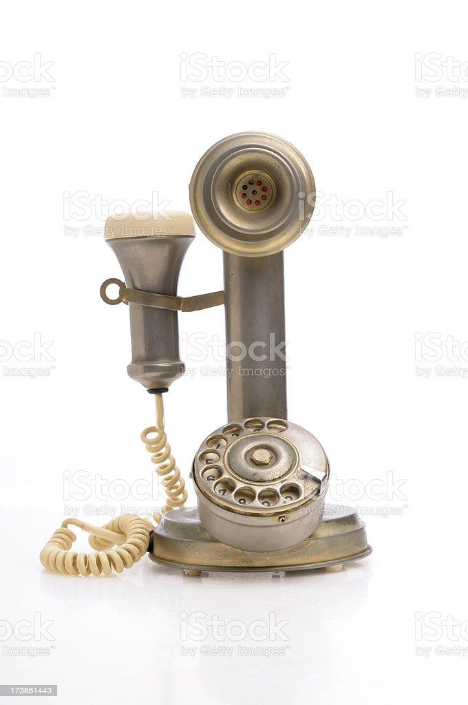 Antique phone isolated on white stock photo