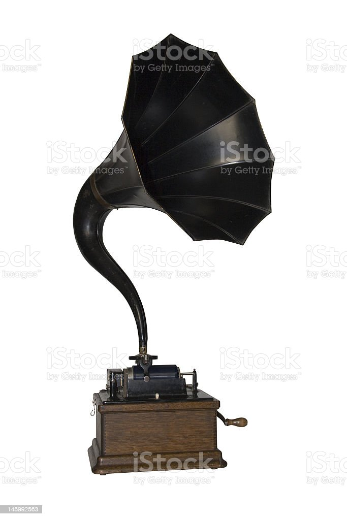 Antique phonograph whit big black speaker stock photo