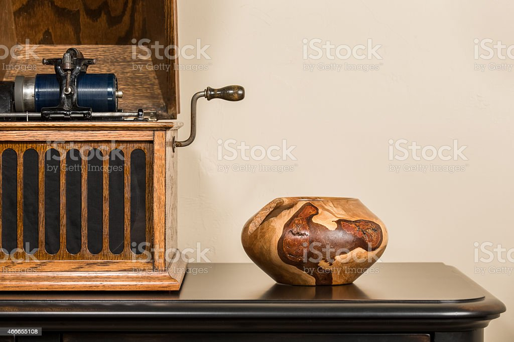 Antique Phonograph with Handmade Decorative Bowl stock photo