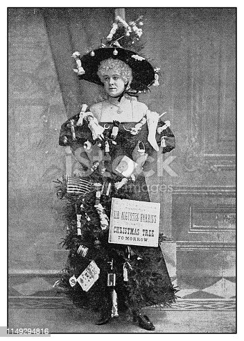 Antique photo: Actress Nita Carlyon as a Christmas Tree