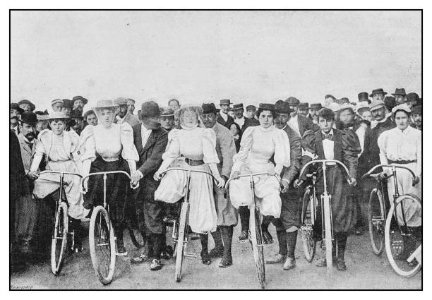 Antique photo: Bicycle women Antique photo: Bicycle women 19th century stock pictures, royalty-free photos & images