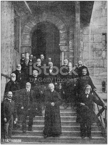 Antique photo: Building of Sacre Coeur de Paris