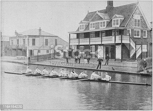 Antique photo: Cambridge Crew rowing