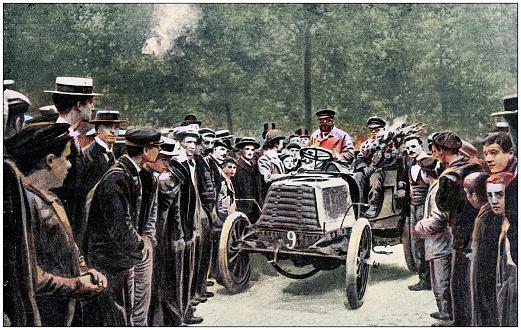Antique photo: Car race