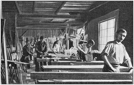Antique photo: Carpentry joiner wood craftsmen