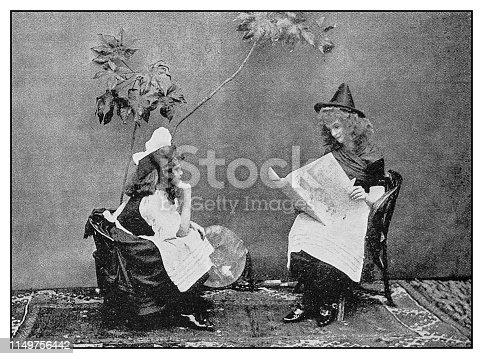 Antique photo: Child theatre play