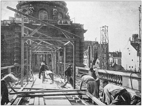 Antique photo: Construction site