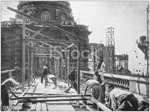 Antique photo: Construction site