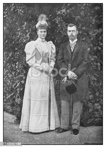 Antique photo: Czar Nicholas II and Bride