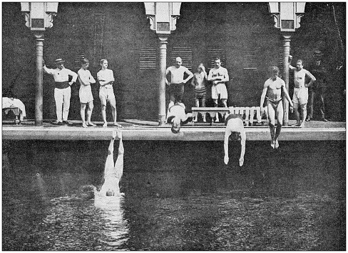 Antique photo: Diving and swimming into canal Saint Martin