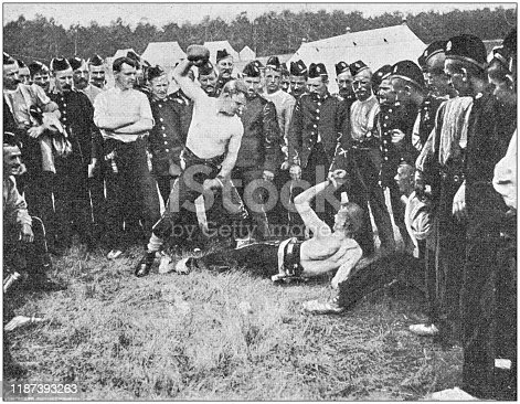 Antique photo: English soldiers in Aldershot military camp