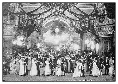 Antique photo: Evening ball in theatre