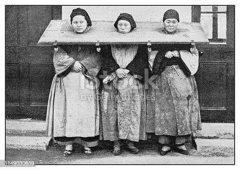Antique photo: Female Prisoners outside the Police Station, Shanghai