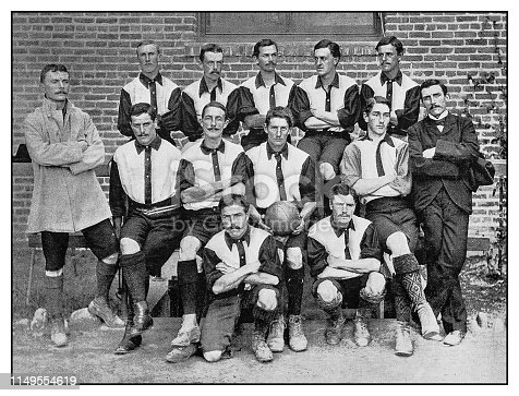 Antique photo: Football soccer team, British Club, Bakersfield, California