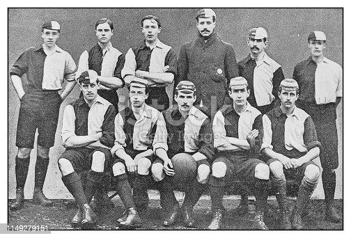 Antique photo: Football soccer team, Oxford University