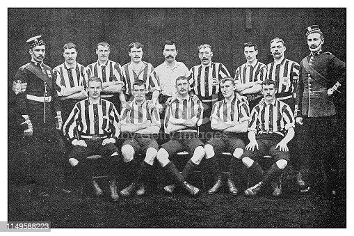 Antique photo: Football soccer team, Scottish Guards
