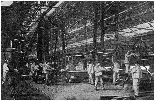 Antique photo: Foundry in Le Creusot stock photo