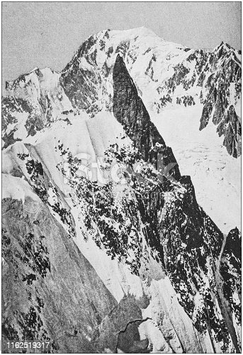Antique photo from mountaineering book: Mont Blanc and Dent du Géant