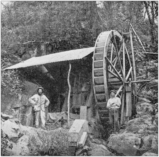Antique photo: Gold Mining industry in South Africa Antique photo: Gold Mining industry in South Africa transvaal province stock pictures, royalty-free photos & images