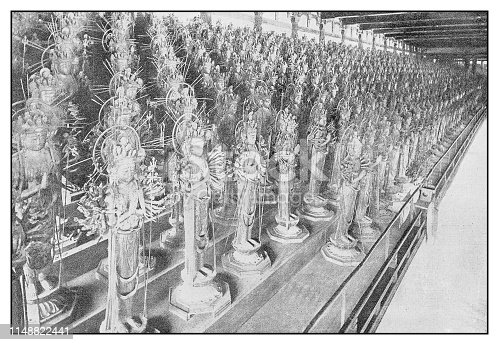 Antique photo: Idol statues in Buddhist Temple