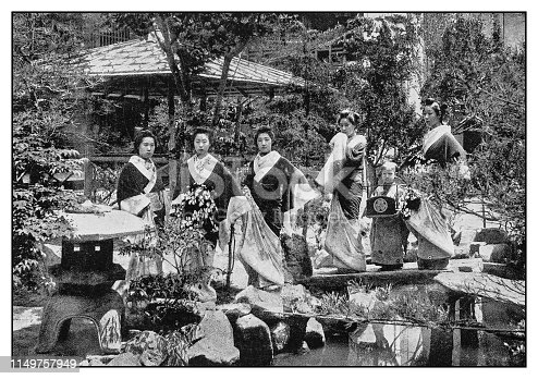 Antique photo: Japanese women wearing traditional clothes