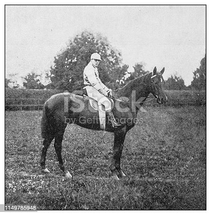 Antique photo: Jockey and horse
