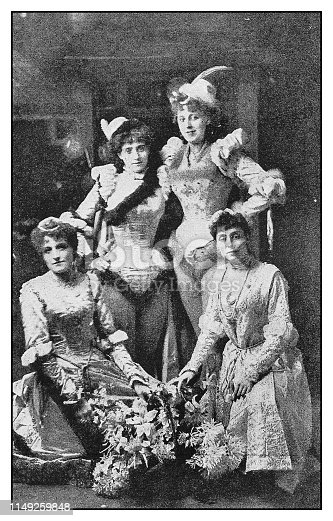 Antique photo: Louie Coote, Birdie Sutherland, Maggie Ripley and Violet Monckton